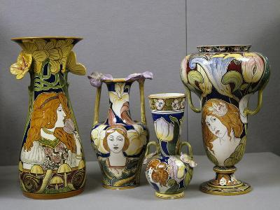 Art Nouveau Vases Decorated with Female Figures and Stylized Plant Motifs, Majolica, Italy--Giclee Print