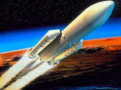 Art of Launch of Ariane 5 Rocket-David Ducros-Premium Photographic Print