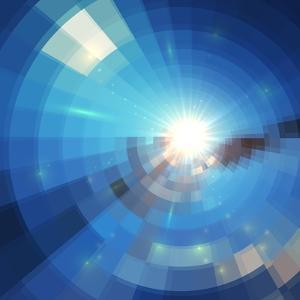 Blue Winter Sunshine in Mosaic Glass Window by art_of_sun
