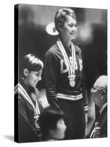 Cathy Ferguson Smiling Being Awarded the Gold Medal at Summer Olympic Games by Art Rickerby
