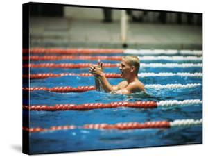Don Schollander Gives Two Thumbs Up After Swimming Anchor on Relay Team at Summer Olympics by Art Rickerby