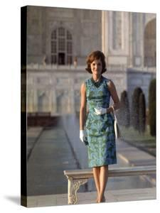 First Lady Jackie Kennedy Standing on the Grounds of the Taj Mahal During Visit to India by Art Rickerby