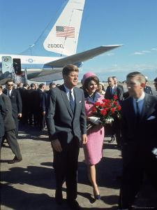 Pres. John F Kennedy and Wife Jackie at Love Field During Campaign Tour on Day of Assassination by Art Rickerby
