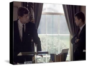 Pres. John F. Kennedy with Brother Robert F. Kennedy at the White House During the Steel Crisis by Art Rickerby