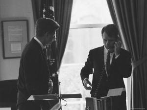 President John F Kennedy and Brother, Attorney General Robert F. Kennedy During the Steel Crisis by Art Rickerby