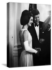 President John F. Kennedy, and Wife Jackie Greeting Guests at Party for Nobel Prize Winners by Art Rickerby