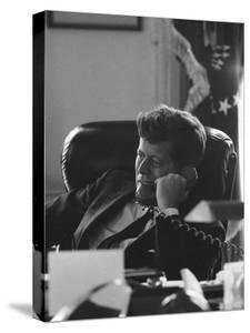 President John F. Kennedy on the Telephone in the Oval Office During the Steel Crisis by Art Rickerby