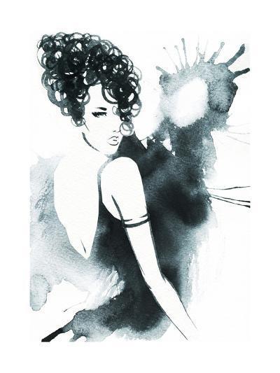 Art Sketch of Beautiful Young Woman in Dress.-Anna Ismagilova-Art Print