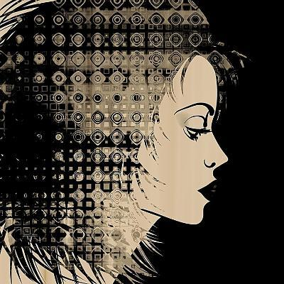 Art Sketched Beautiful Girl Face In Profile With Geometric Ornament Hair On Black Background-Irina QQQ-Art Print