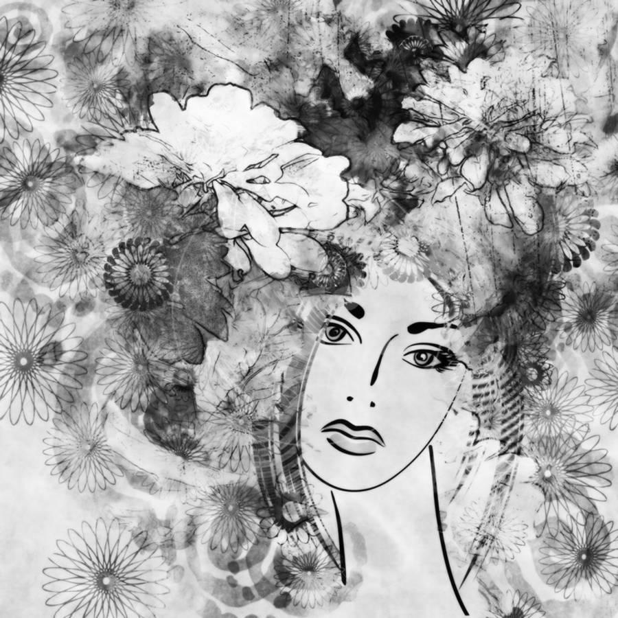Art sketched beautiful girl face with flowers in hair in black graphic on white backgroundby irina qqq