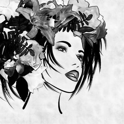 Art Sketched Beautiful Girl Face With Flowers In Hair In Black Graphic On White Background-Irina QQQ-Art Print