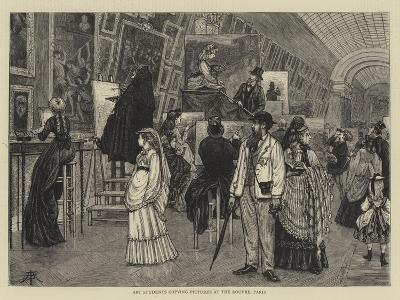 Art Students Copying Pictures at the Louvre, Paris-Arthur Boyd Houghton-Giclee Print