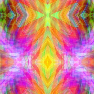 Art Vintage Geometric Ornamental Pattern, Blur Background in Yellow, Lilac, Pink and Red Colors-Irina QQQ-Art Print
