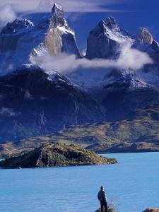 Hiker and Cuernos del Paine, Torres del Paine National Park, Chile by Art Wolfe