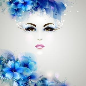 Beautiful Abstract Women with Abstract Design Natural Floral Elements by artant