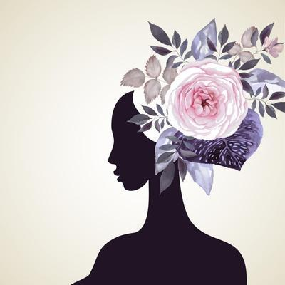 Beautiful Women with Abstract Flower Hair