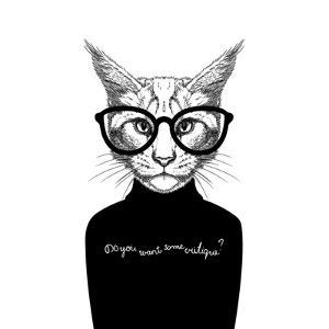 Hand Drawn Stylized Portrait of Cat Look like Critique, Whose Wearing Glasses and a Sweater. by artant