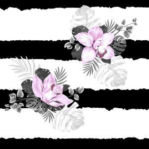Seamless Pattern of Leaves Monstera and Blooming Orchids on the Striped Background by artant