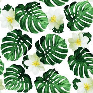 Seamless Pattern of Leaves Monstera and Exotic Flowers by artant