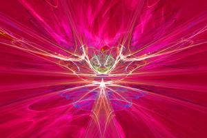 Mysterious Alien Form Magnetic Fields in the Red Sky. Fractal Art Graphics by Artem Volkov