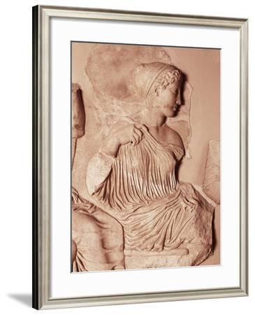 Artemis by Phidias, Details from Frieze on East Side of Parthenon, Pentelic Marble, 447-440 B.C.--Framed Giclee Print