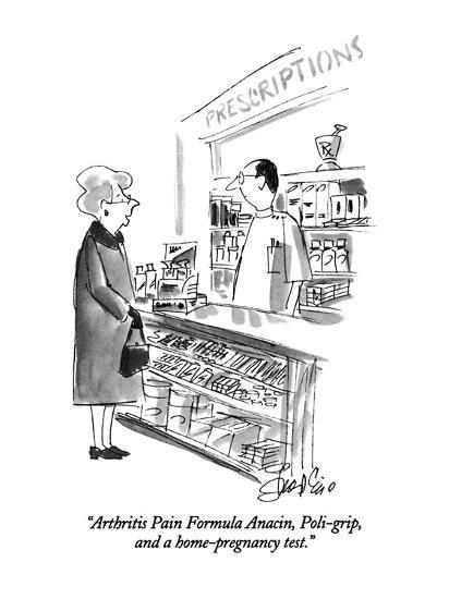 """Arthritis Pain Formula Anacin, Poli-grip, and a home-pregnancy test."" - New Yorker Cartoon-Edward Frascino-Premium Giclee Print"