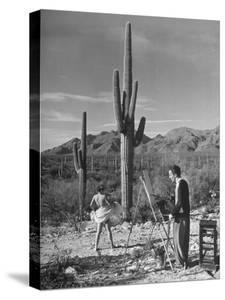 Arthritis Patient Hutton Webster, Jr. Painting Nude Model in Desert at Clinic