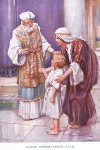 Hannah Presents Samuel to Eli by Arthur A. Dixon