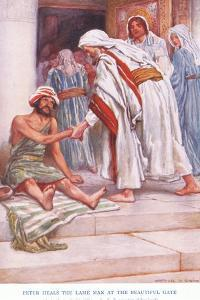 Peter Heals the Lame Man at the Beautiful Gate by Arthur A. Dixon