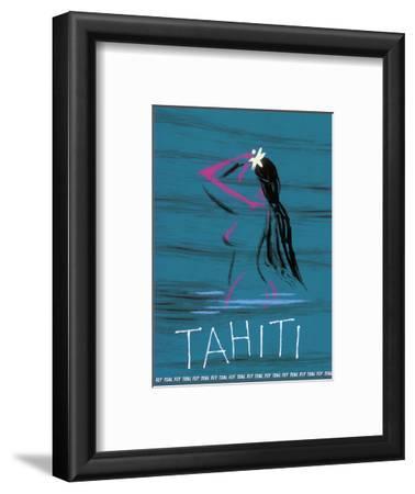 Tahiti - Nude Tahitian Girl - Fly Teal (Tasman Empire Airways Limited)