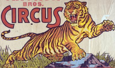 """Arthur Bros. Circus"" Poster with Illustration of Roaring Tiger, Circa 1945"