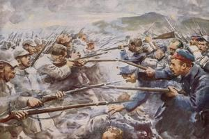 Belgians Repelling a Fierce German Attack at Liege by Arthur C. Michael