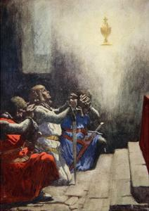 Galahad Alone Could See the Perfect Beauty of the Holy Grail, C.1925 by Arthur C. Michael