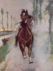 """""""He Bent over His Horse's Head, Petting and Carressing Him"""" by Arthur C. Michael"""