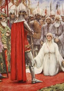 King Edward Looked Down into Queen Philippa's Pleading Eyes by Arthur C. Michael