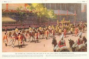Our Crowned and Consecrated King and Queen in the State Coach During the Coronation Procession by Arthur C. Michael