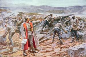 Serbian Artillery in Action Against the Austrians by Arthur C. Michael