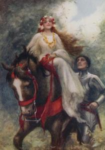 """""""The Knight and the Lady Wandered Through the Flower-Strewn Meadows Together"""" by Arthur C. Michael"""