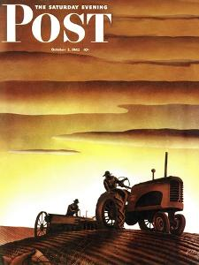 """Tractors at Sunset,"" Saturday Evening Post Cover, October 3, 1942 by Arthur C^ Radebaugh"