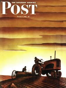 """""""Tractors at Sunset,"""" Saturday Evening Post Cover, October 3, 1942 by Arthur C^ Radebaugh"""