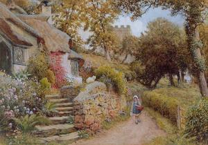 A Country Lane (W/C on Paper) by Arthur Claude Strachan