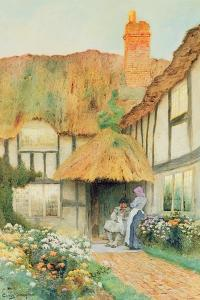 By the Cottage Door by Arthur Claude Strachan