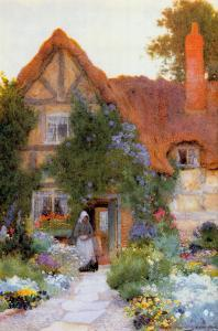 Outside the Cottage by Arthur Claude Strachan