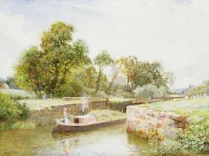 Stratford Lock by Arthur Claude Strachan