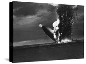 Hindenburg Zeppelin Bursting into Flames While Attempting to Land after 37th Ocean Crossing by Arthur Cofod