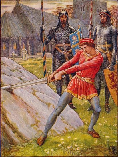 'Arthur Draws the Sword from the Stone', 1911-Walter Crane-Giclee Print