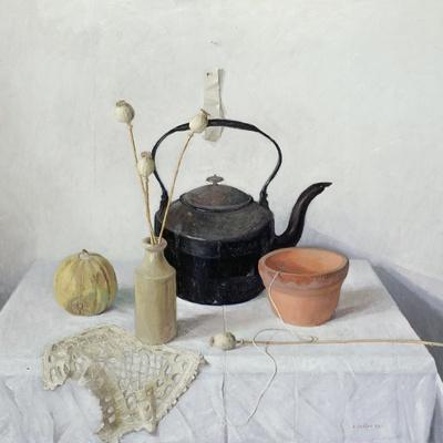 Kettle, Poppyheads and Gourd, Still Life, 1990
