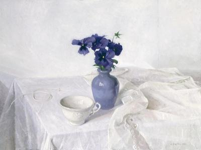 Pansies in a Blue Vase, Still Life, 1990