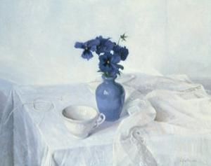 Pansies in a Blue Vase by Arthur Easton