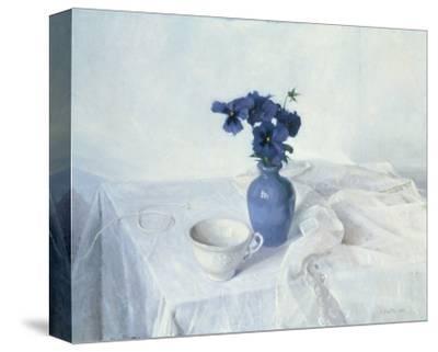 Pansies in a Blue Vase